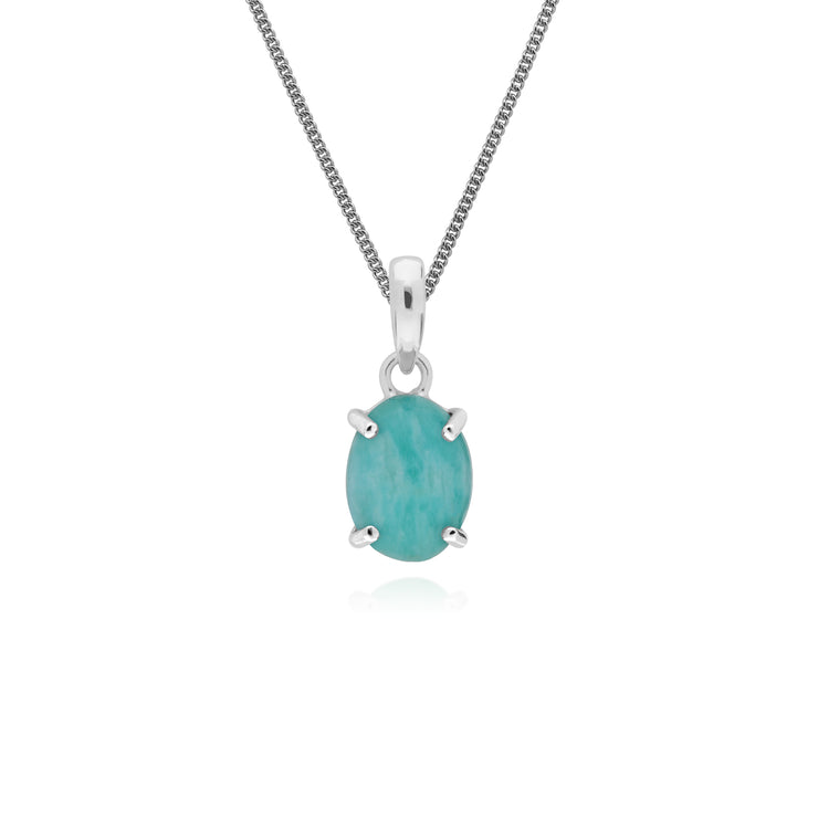 Classic Oval Amazonite Pendant in 925 Sterling Silver