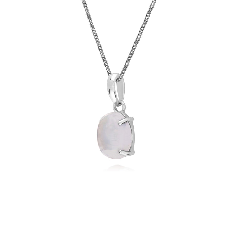 Gemondo Sterling Silver Rainbow Moonstone Oval 45cm Necklace