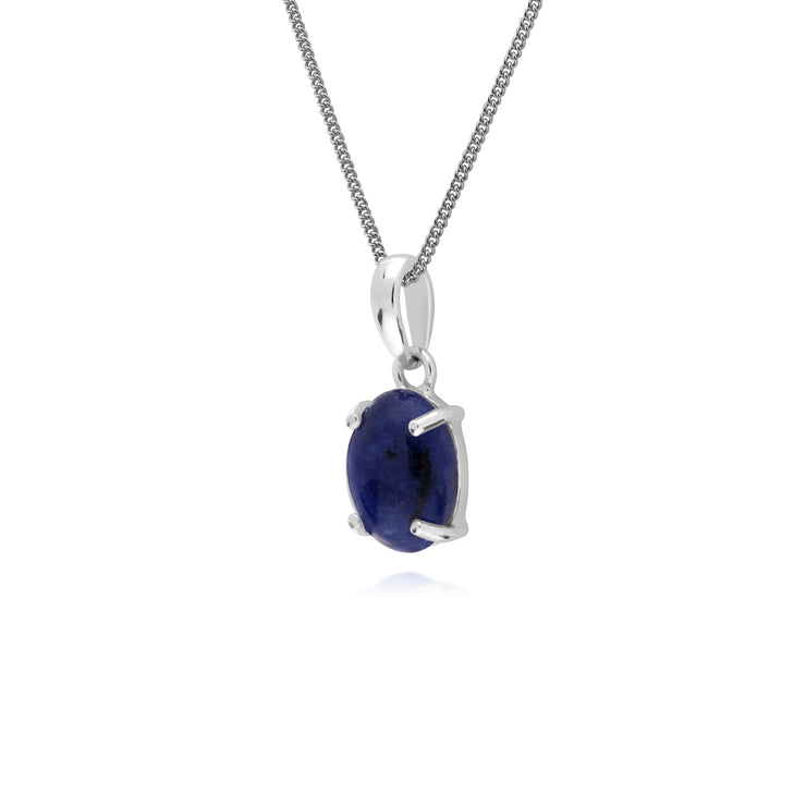 Classic Oval Sodalite Pendant in 925 Sterling Silver