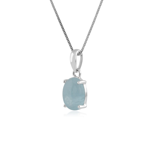 Classic Oval Milky Aquamarine Single Stone Pendant in 925 Sterling Silver
