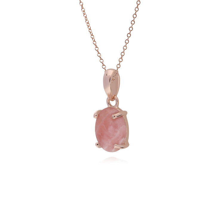 Classic Oval Rhodochrosite Pendant in Rose Gold Plated 925 Sterling Silver