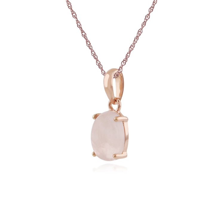 Classic Oval Milky Morganite Single Stone Pendant in Rose Gold Plated 925 Sterling Silver