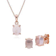 Classic Rose Quartz Stud Earrings & Pendant Set Image 1