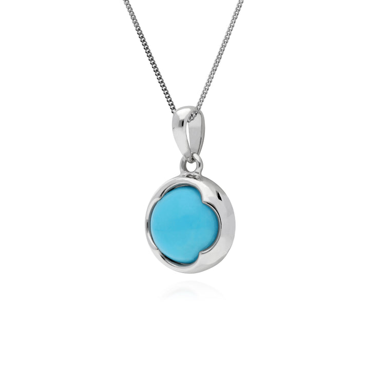 Gemondo Sterling Silver Round Turquoise Pendant on 45cm Chain
