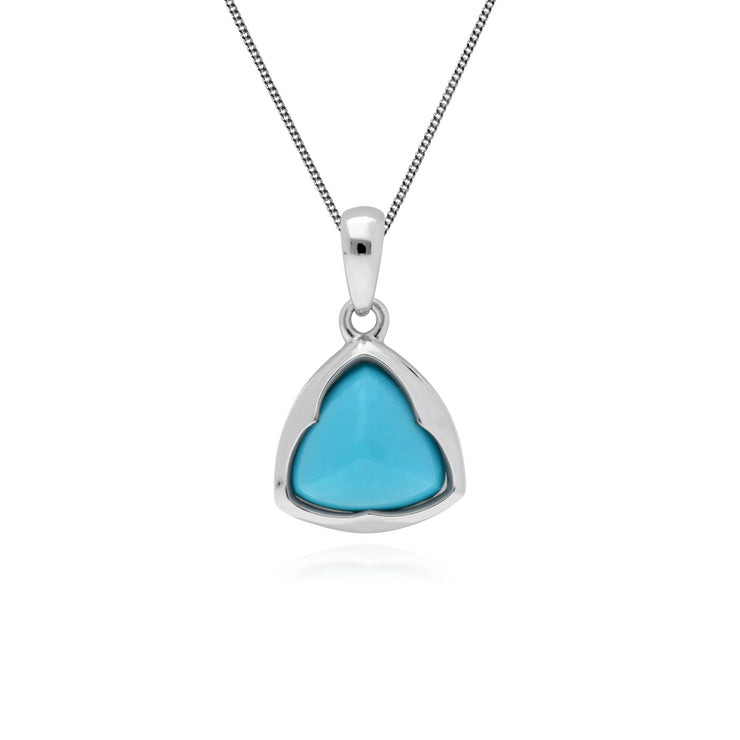 Geometric Sugarloaf Turquoise Triangular Prism Pendant in 925 Sterling Silver
