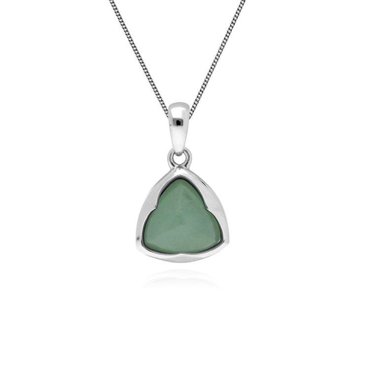 Gemondo Sterling Silver Prism Sugarloaf Jade Pendant on 45cm Chain