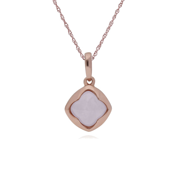 Geometric Sugarloaf Rose Quartz Diamond Prism Pendant in Rose Gold Plated 925 Sterling Silver