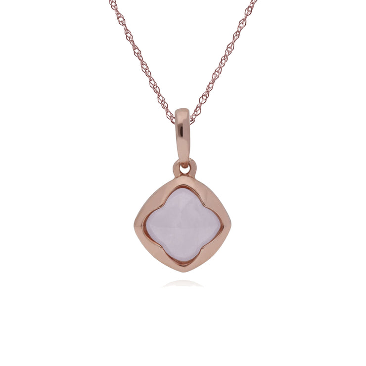 Gemondo Rose Gold Plated Sterling Silver Cushion Rose Quartz 45cm Necklace