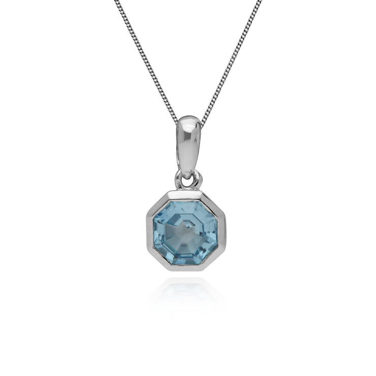 Geometric Octagon Blue Topaz Pendant in 925 Sterling Silver