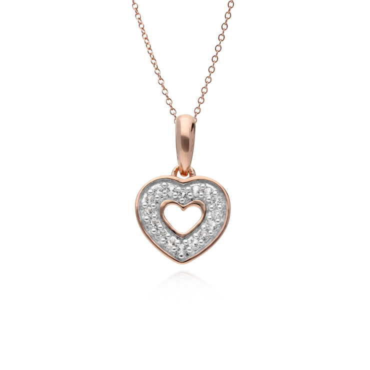 Classic Round Diamond Open Love Heart Pendant in Rose Gold Plated 925 Sterling Silver