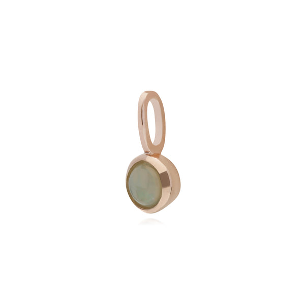 Classic Round Opal Charm in Rose Gold Plated 925 Sterling Silver