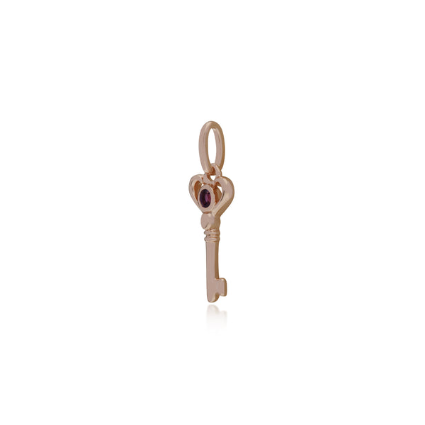 Classic Round Amethyst Accented Small Key Charm in Rose Gold Plated 925 Sterling Silver