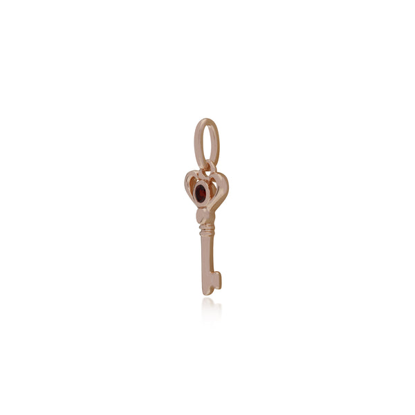 Classic Round Garnet Accented Small Key Charm in Rose Gold Plated 925 Sterling Silver