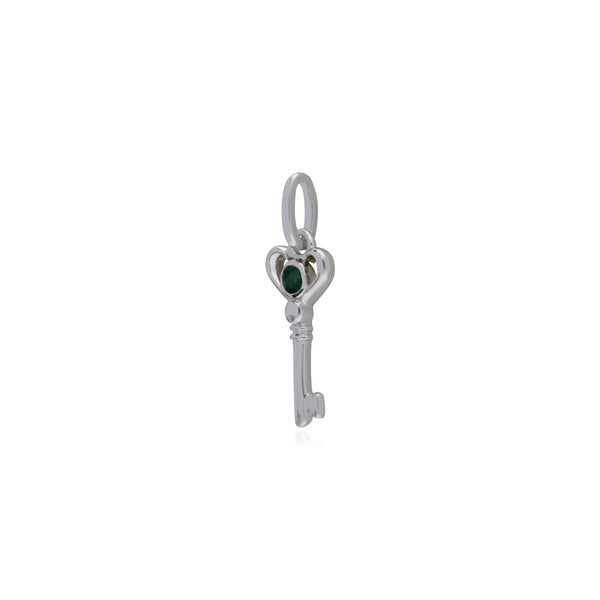 Classic Round Emerald Accented Small Key Charm in 925 Sterling Silver