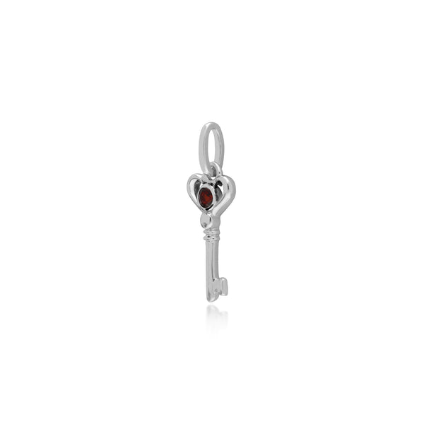 Classic Round Garnet Accented Small Key Charm in 925 Sterling Silver