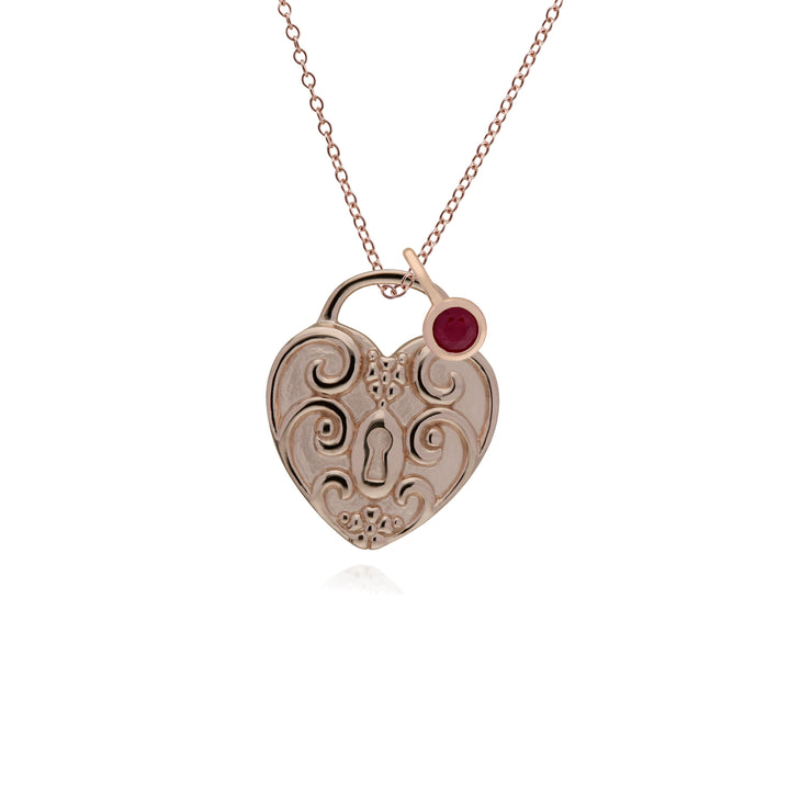 Classic Heart Pendant & Ruby Charm Image 1