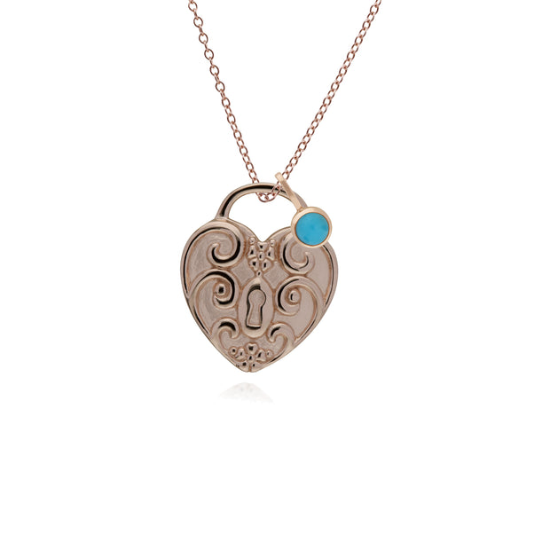 Classic Heart Pendant & Turquoise Charm Image 1