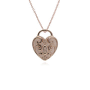 Classic Rose Gold Plated Swirled Heart Padlock Charm Pendant in 925 Sterling Silver