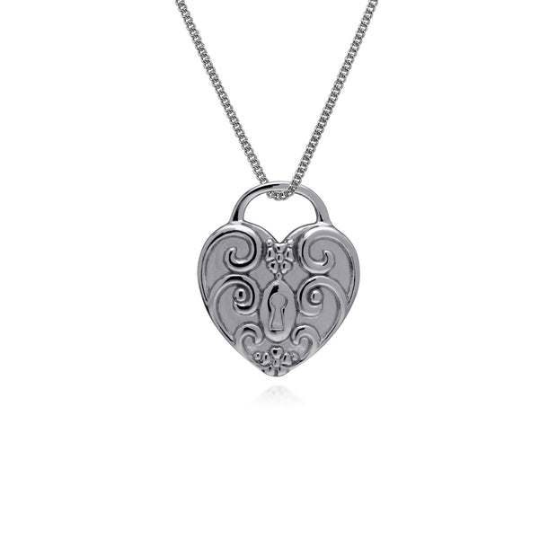 Classic Heart Lock Pendant & Turquoise Charm Image 3