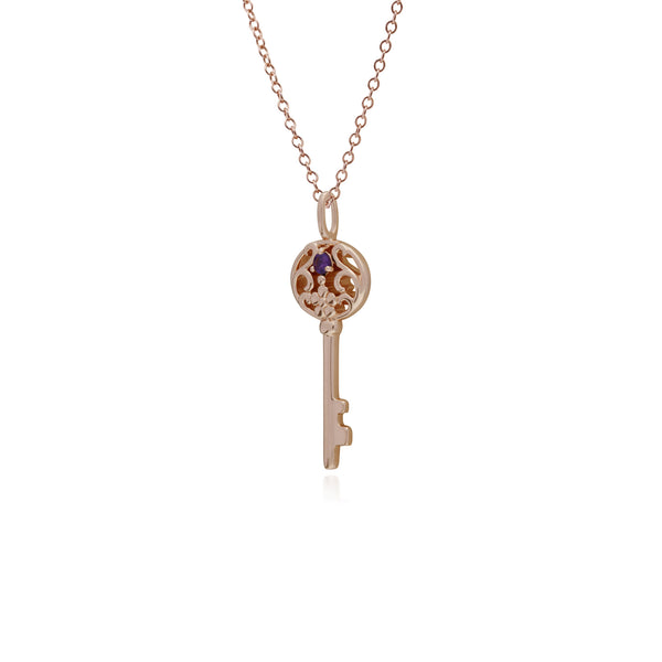Classic Round Amethyst Accented Big Key Charm in Rose Gold Plated 925 Sterling Silver
