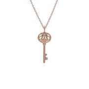 Gemondo Rose Gold Plated Sterling Silver Clear Topaz Big Key Charm