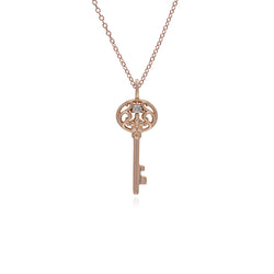 Classic Round Clear Topaz Accented Big Key Charm in Rose Gold Plated 925 Sterling Silver