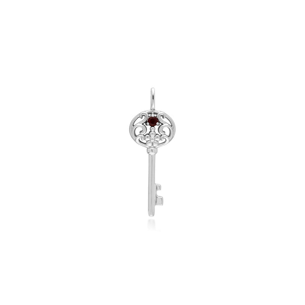 Classic Round Garnet Accented Big Key Charm in 925 Sterling Silver