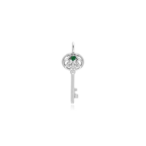 Classic Round Emerald Accented Big Key Charm in 925 Sterling Silver