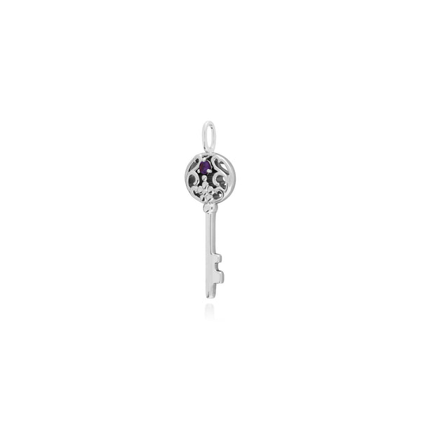 Classic Round Amethyst Accented Big Key Charm in 925 Sterling Silver