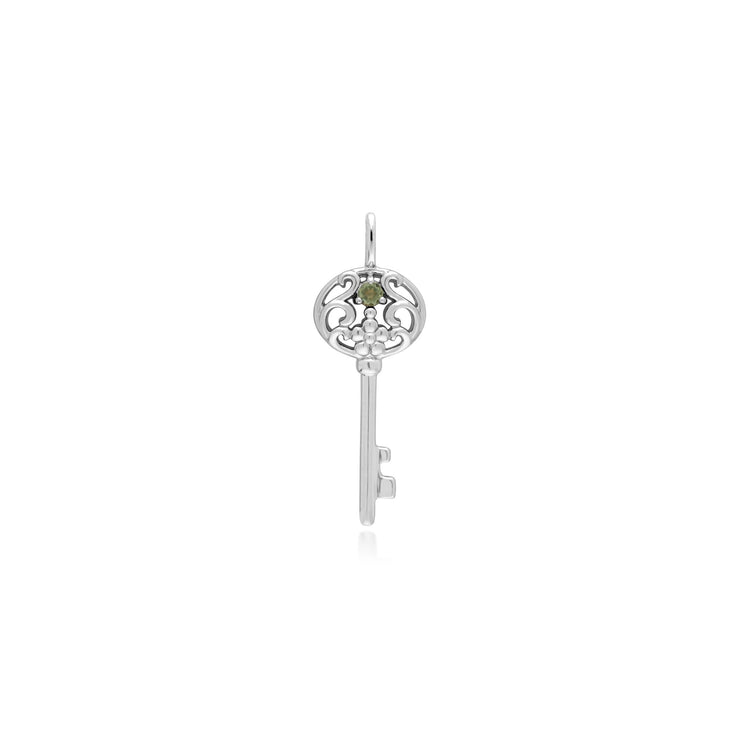 Gemondo Sterling Silver Peridot Big Key Charm