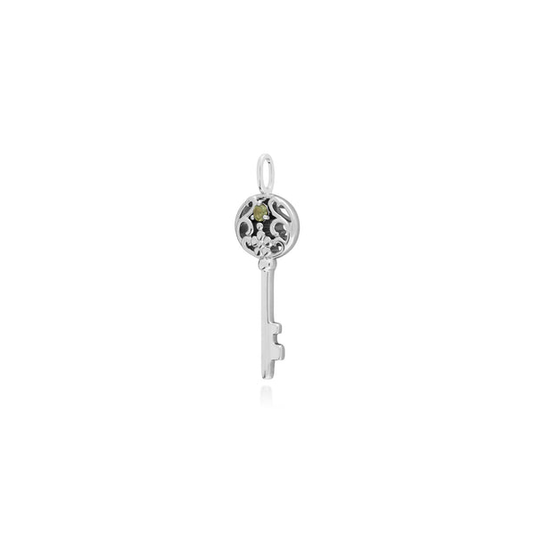 Classic Round Peridot Accented Big Key Charm in 925 Sterling Silver