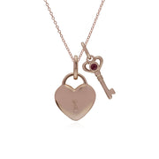 Classic Heart Pendant & Ruby Key Charm Image 1