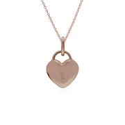 Classic Rose Gold Plated Plain Heart Padlock Charm Pendant in 925 Sterling Silver