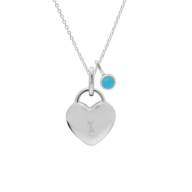 Classic Heart Lock Pendant & Turquoise Charm Image 1