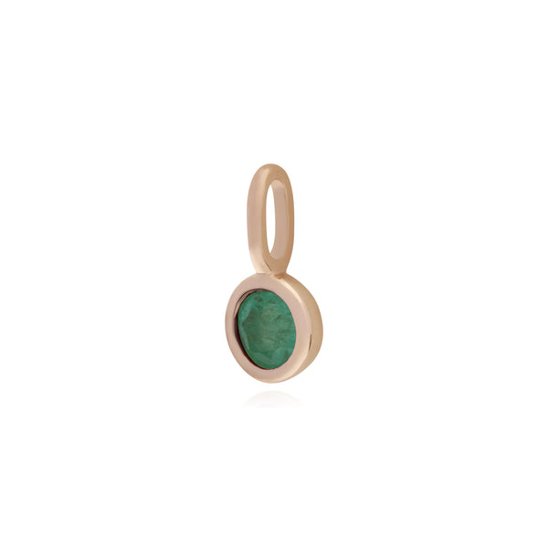 Classic Round Emerald Charm in Rose Gold Plated 925 Sterling Silver