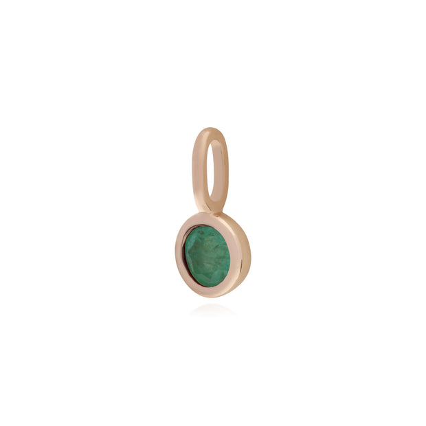 Gemondo Rose Gold Plated Sterling Silver Emerald Charm