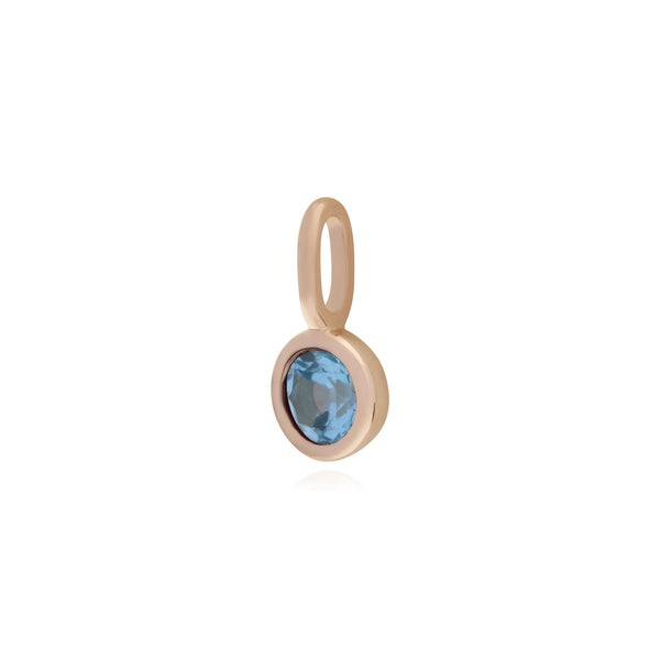 Classic Round Blue Topaz Charm in Rose Gold Plated 925 Sterling Silver