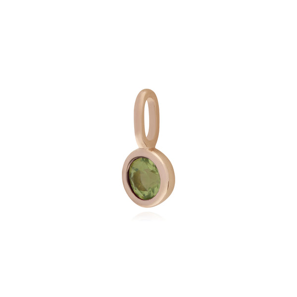 Classic Round Peridot Charm in Rose Gold Plated 925 Sterling Silver