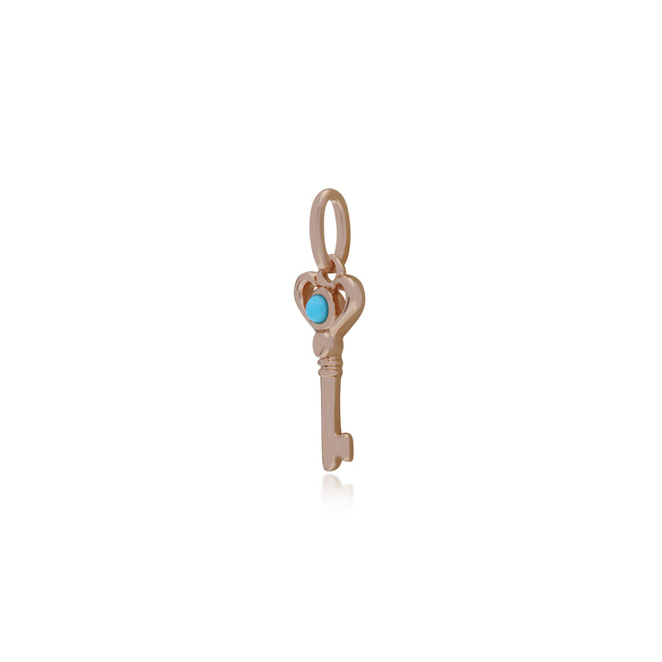 Classic Round Turquoise Accented Small Key Charm in Rose Gold Plated 925 Sterling Silver