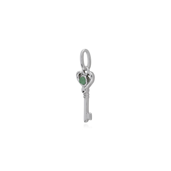 Classic Round Jade Accented Small Key Charm in 925 Sterling Silver