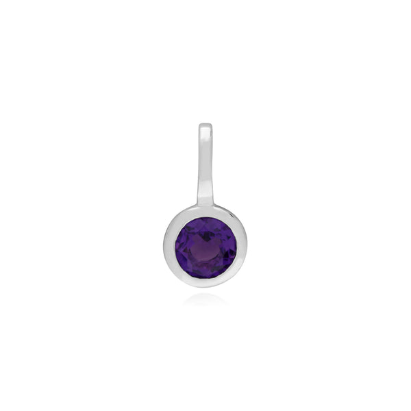 Classic Round Amethyst Charm in 925 Sterling Silver