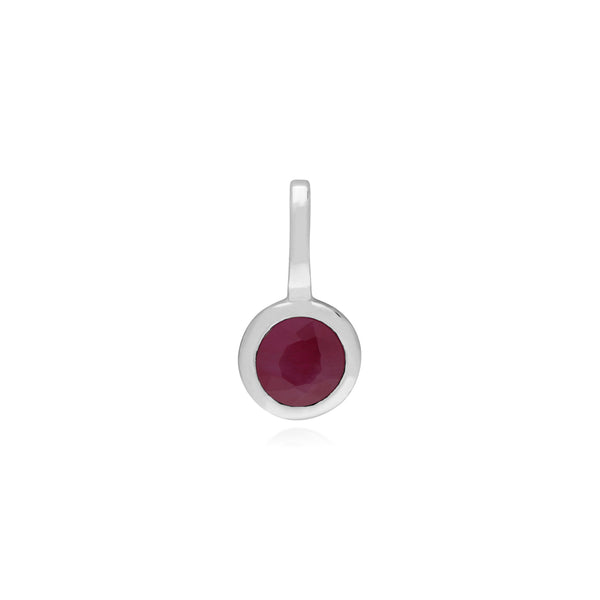 Classic Round Garnet Charm in 925 Sterling Silver