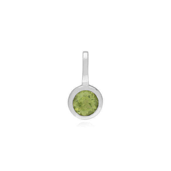 Classic Round Peridot Charm in 925 Sterling Silver