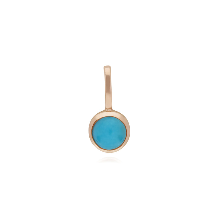 Classic Round Turquoise Charm in Rose Gold Plated 925 Sterling Silver