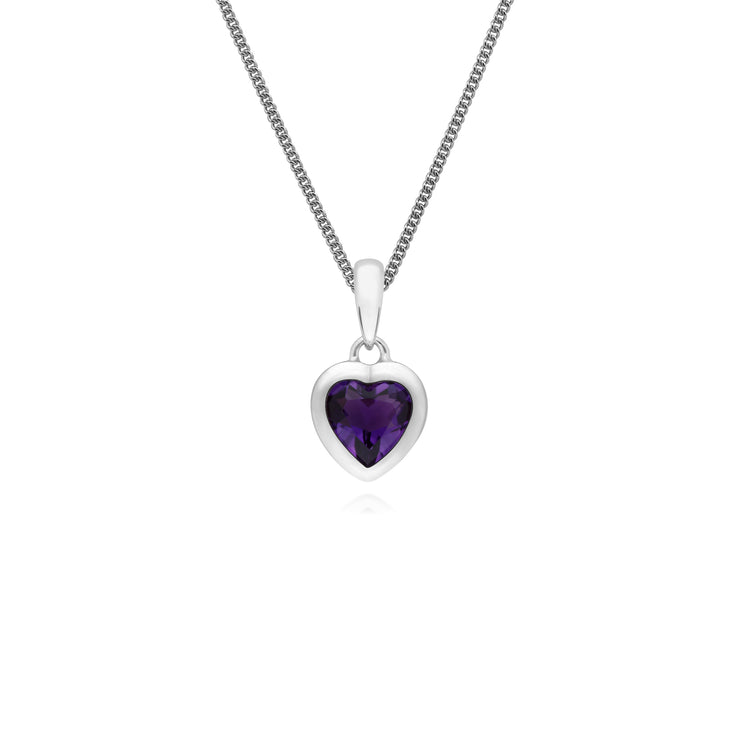 Essential Heart Shaped Amethyst Pendant in 925 Sterling Silver