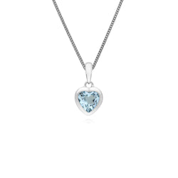 Essential Heart Shaped Blue Topaz Pendant in 925 Sterling Silver