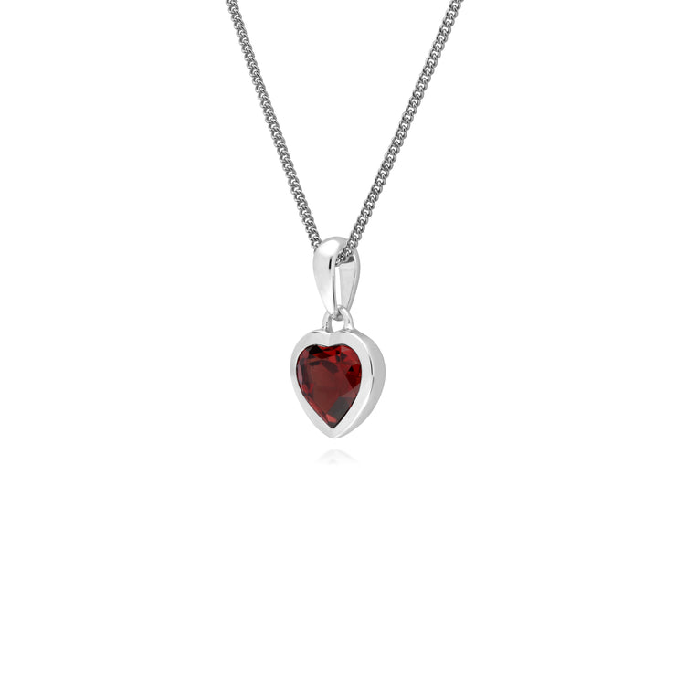 Essential Heart Shaped Garnet Pendant in 925 Sterling Silver