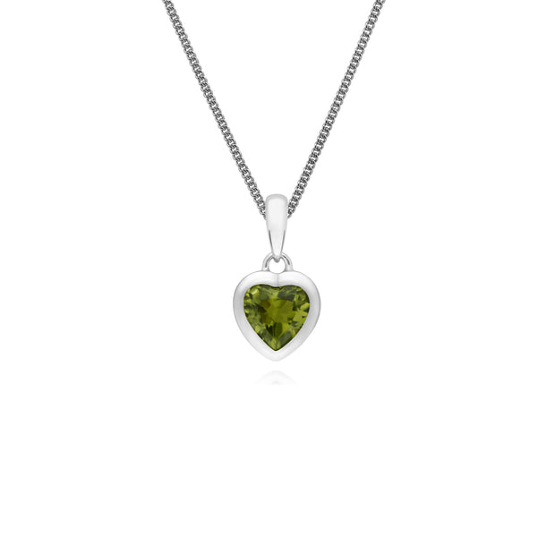 Essential Heart Shaped Peridot Pendant in 925 Sterling Silver