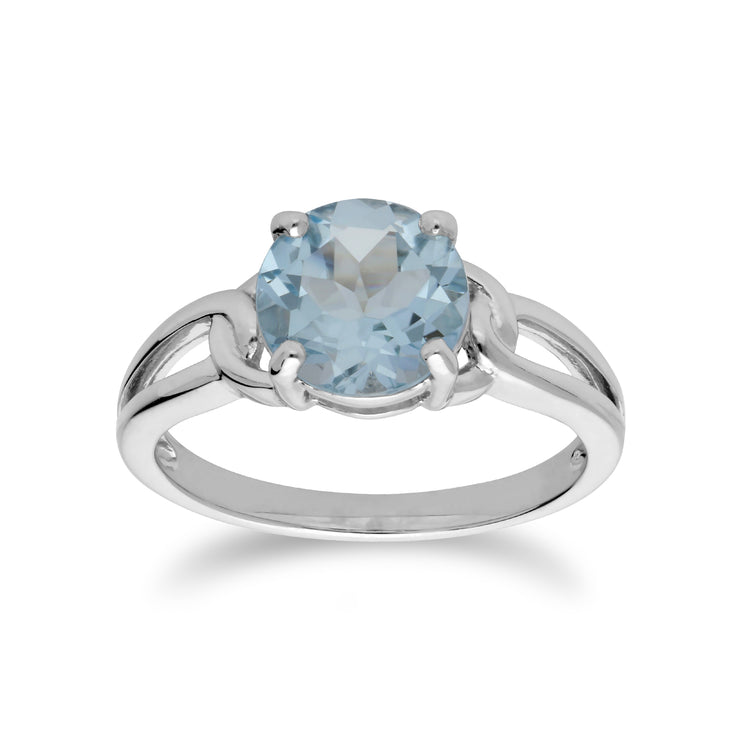 Classic Round Blue Topaz Split Shank Ring in 925 Sterling Silver