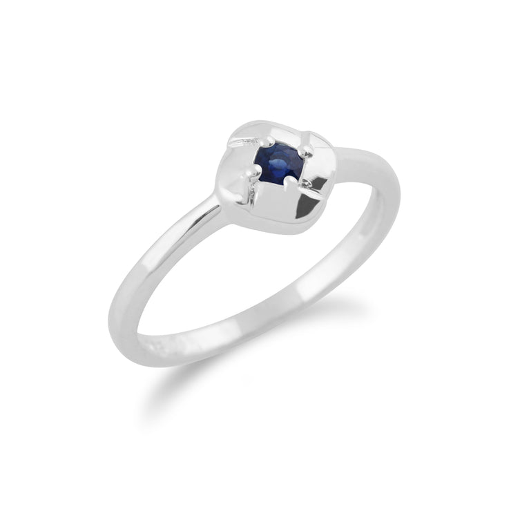 Gemondo 925 Sterling Silver 0.13ct Sapphire Square Crossover Ring
